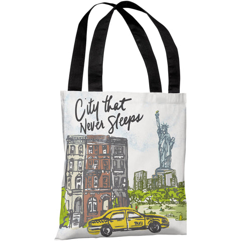 """City That Never Sleeps"" 18""x18"" Tote Bag by Jeanetta Gonzales"