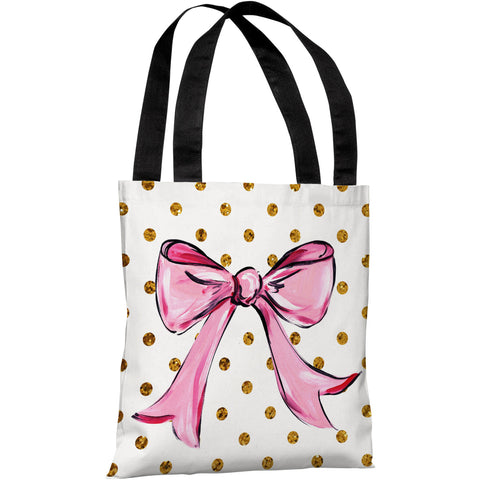 """Pink Bow Dots"" 18""x18"" Tote Bag by Timree Gold"