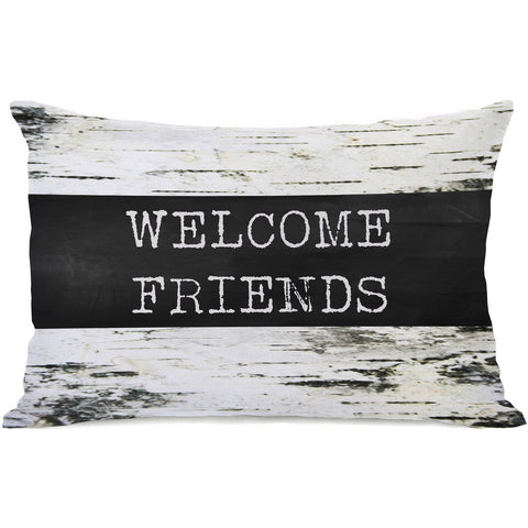 """Welcome Friends"" Indoor Throw Pillow by OneBellaCasa, 14""x20"""