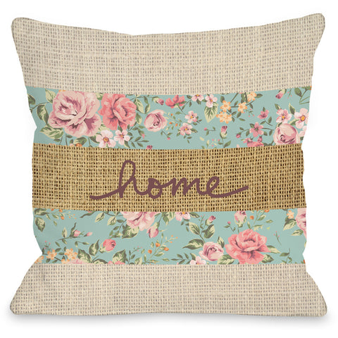 """Home Floral"" Indoor Throw Pillow by OneBellaCasa, 16""x16"""
