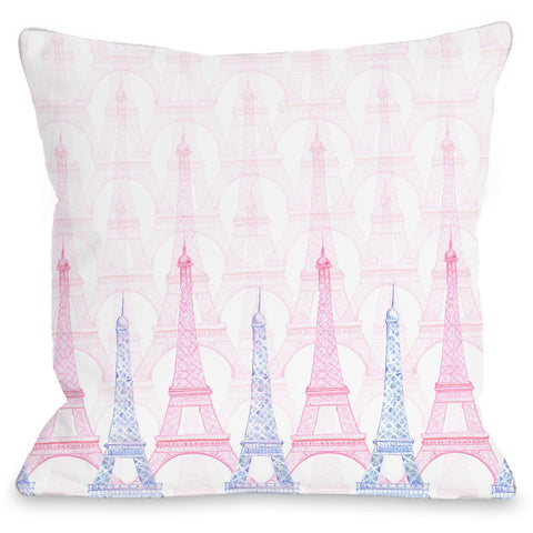 """Eiffel Tower"" Indoor Throw Pillow by April Heather Art, 16""x16"""