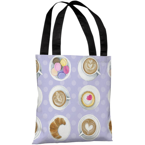 """Coffee Cupcake Macaroons"" 18""x18"" Tote Bag by April Heather Art"