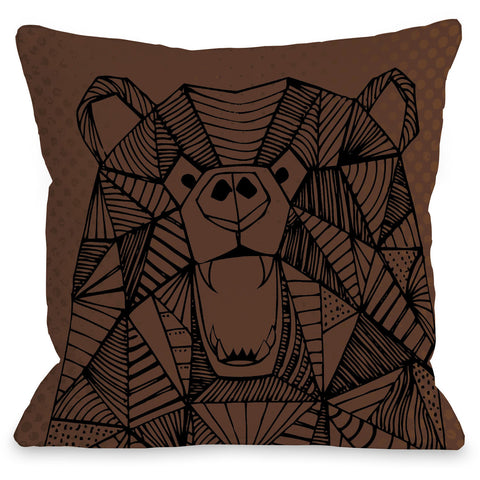 """Geo Bear"" Outdoor Throw Pillow by Arrolynn Weiderhold, 16""x16"""