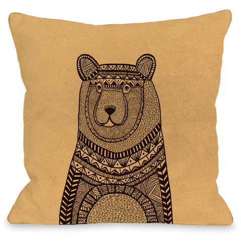 """Bear Sweater"" Outdoor Throw Pillow by Joy Ting, 16""x16"""