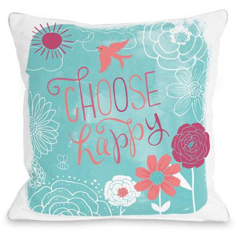 """Choose Happy"" Outdoor Throw Pillow by Loni Harris, 16""x16"""