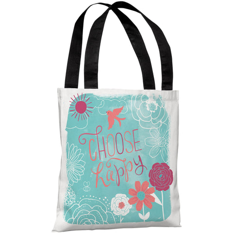 """Choose Happy"" 18""x18"" Tote Bag by Loni Harris"