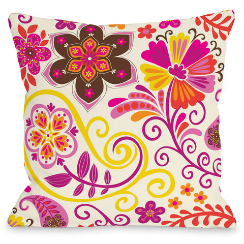 """Bohemian Florals"" Outdoor Throw Pillow by Mary Beth, 16""x16"""