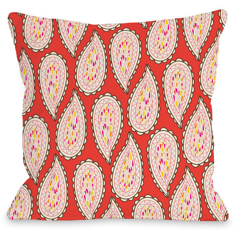 """Paisley Pattern"" Outdoor Throw Pillow by Mary Beth, 16""x16"""