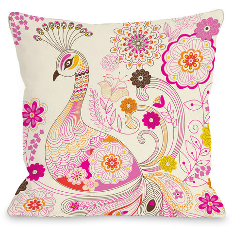 """Peacock"" Outdoor Throw Pillow by Mary Beth, 16""x16"""