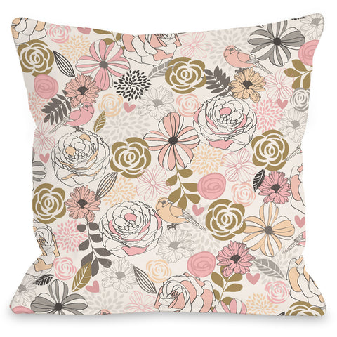 """Warm Florals"" Indoor Throw Pillow by Angela Nickeas, 16""x16"""
