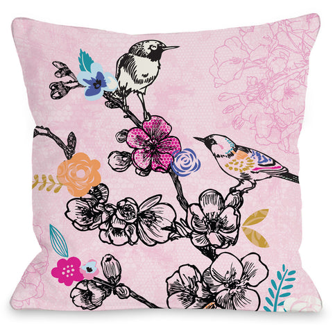 """Birds"" Outdoor Throw Pillow by Angela Nickeas, 16""x16"""