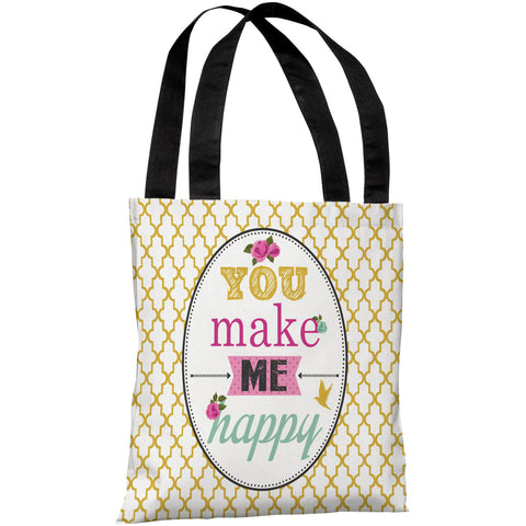 """You Make Me Happy"" 18""x18"" Tote Bag by Angela Nickeas"