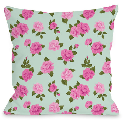 """Lovely Florals"" Indoor Throw Pillow by Angela Nickeas, 16""x16"""