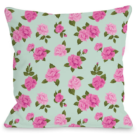 """Lovely Florals"" Outdoor Throw Pillow by Angela Nickeas, 16""x16"""