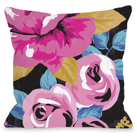 """Rose Florals"" Outdoor Throw Pillow by Angela Nickeas, 16""x16"""