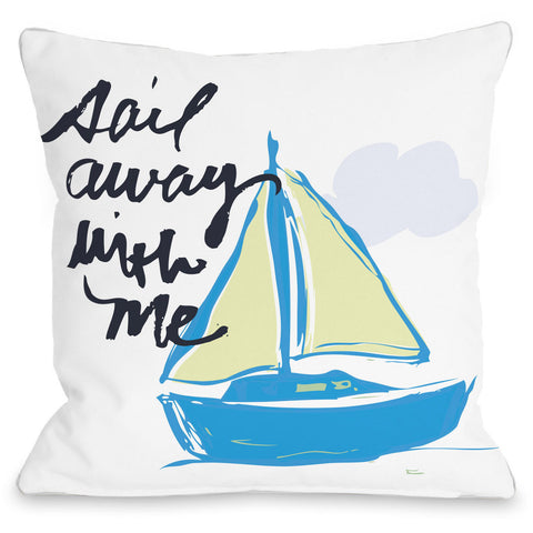 """Sail Away With Me"" Outdoor Throw Pillow by Jeanetta Gonzales, 16""x16"""