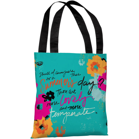 """Summer's Day Quote"" 18""x18"" Tote Bag by Jeanetta Gonzales"