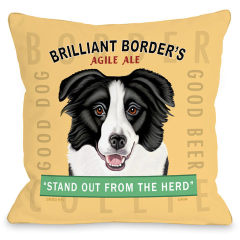 """Brilliant Borders Agile Ale"" Indoor Throw Pillow by Retro Pets, 16""x16"""