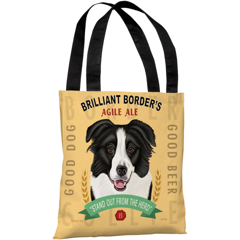 """Brilliant Border's Agile Ale"" 18""x18"" Tote Bag by Retro Pets"
