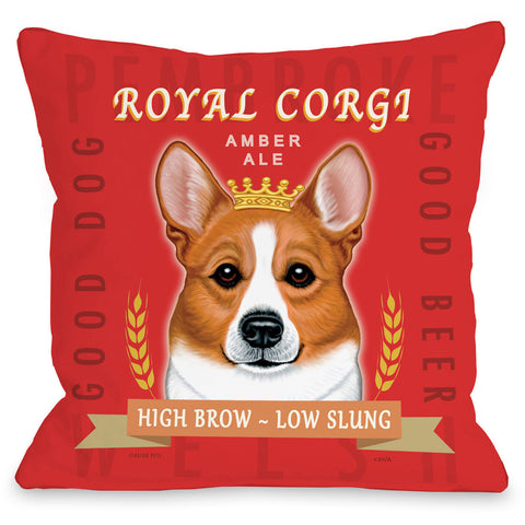 """Royal Corgi Amber Ale"" Indoor Throw Pillow by Retro Pets, Blue, 16""x16"""