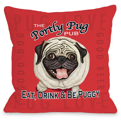 """Portly Pug Pub"" Indoor Throw Pillow by Retro Pets, 16""x16"""