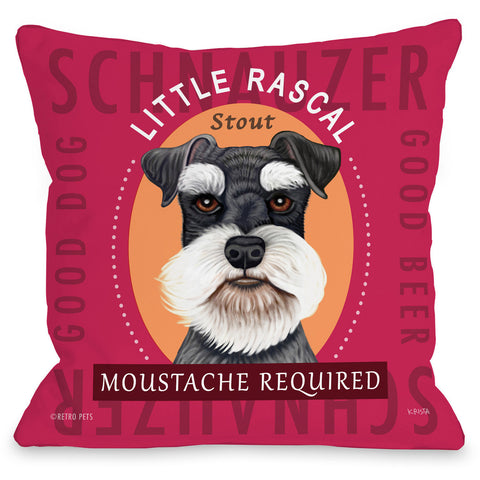 """Little Rascal Schnauzer Stout"" Indoor Throw Pillow by Retro Pets, 16""x16"""
