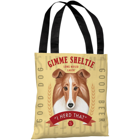 """Gimme Sheltie Long Nosed Lager"" 18""x18"" Tote Bag by Retro Pets"