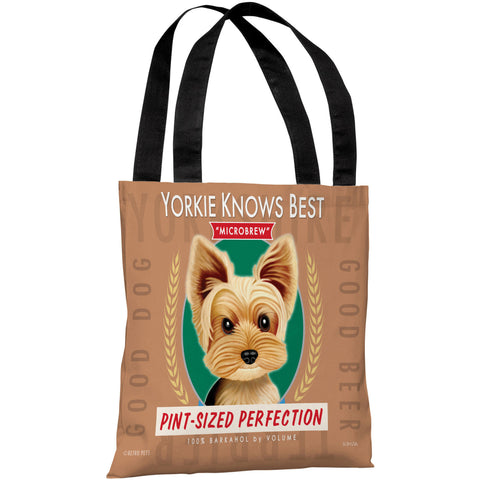 """Yorkie Knows Best Microbrew"" 18""x18"" Tote Bag by Retro Pets"
