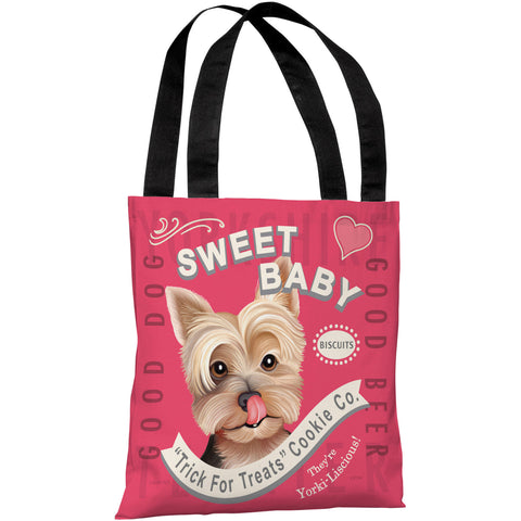 """Sweet Baby Yorkie Biscuits"" 18""x18"" Tote Bag by Retro Pets"