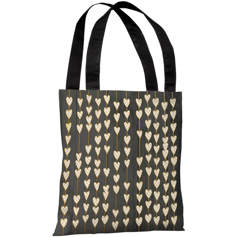 """Hearts On A String"" 18""x18"" Tote Bag by OneBellaCasa"