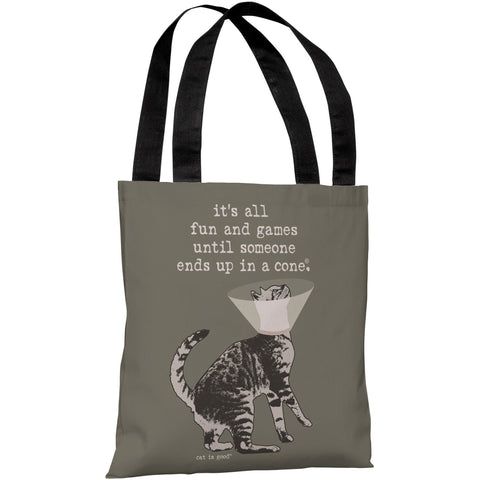 """All Fun And Games..."" 18""x18"" Tote Bag by Dog is Good"