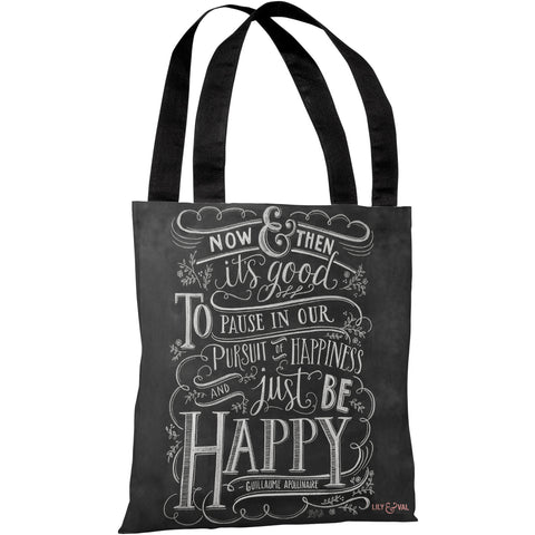 """Just Be Happy "" 18""x18"" Tote Bag by Lily & Val"