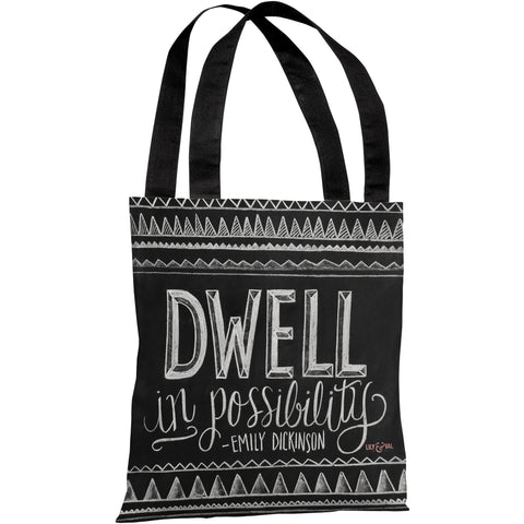 """Dwell In Possibility"" Emily Dickinson Quote 18""x18"" Tote Bag by Lily & Val"