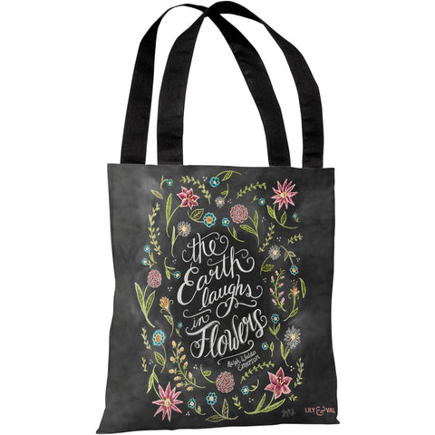 """The Earth Laughs In Flowers"" Emerson Quote 18""x18"" Tote Bag by Lily & Val"