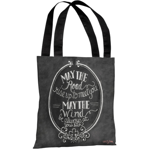 """May The Road - May The Wind"" 18""x18"" Tote Bag by Lily & Val"