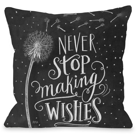 """Never Stop Making Wishes"" Outdoor Throw Pillow by Lily & Val, 16""x16"""
