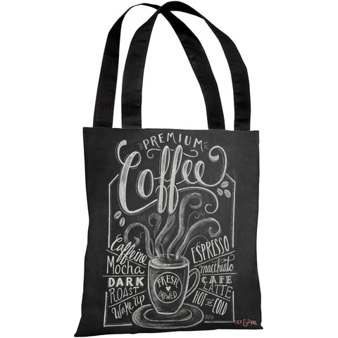 """Premium Coffee"" 18""x18"" Tote Bag by Lily & Val"