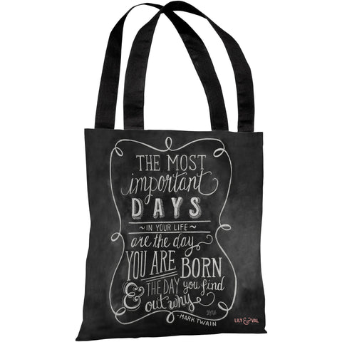 """The Most Important Days"" Mark Twain Quote 18""x18"" Tote Bag by Lily & Val"