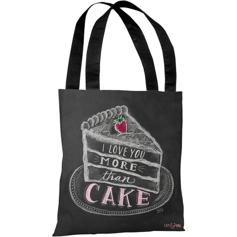 """I Love You More Than Cake"" 18""x18"" Tote Bag by Lily & Val"