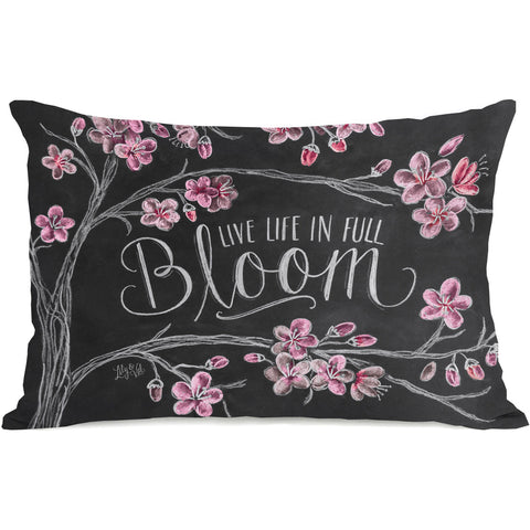 """Live Life In Full Bloom"" Outdoor Throw Pillow by Lily & Val, 14""x20"""