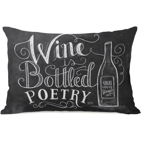 """Wine Is Bottled Poetry"" Indoor Throw Pillow by Lily & Val, 14""x20"""