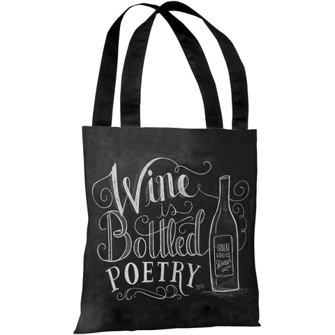"""Wine Is Bottled Poetry"" 18""x18"" Tote Bag by Lily & Val"