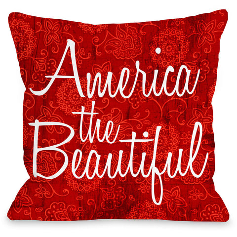 """America The Beautiful Floral"" Indoor Throw Pillow by OneBellaCasa, 16""x16"""