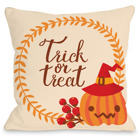 """Trick Or Treat Wreath"" Indoor Throw Pillow by OneBellaCasa, 16""x16"""