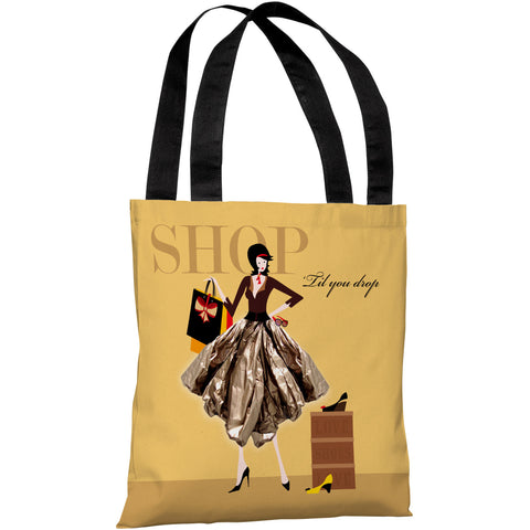 """Shop Till You Drop"" 18""x18"" Tote Bag by Dominique Vari"