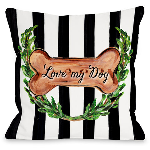 """Love My Dog Bone"" Indoor Throw Pillow by Timree Gold, 16""x16"""