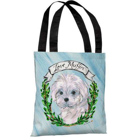 """Maltese"" 18""x18"" Tote Bag by Timree Gold"