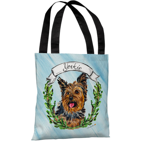 """Yorkie"" 18""x18"" Tote Bag by Timree Gold"