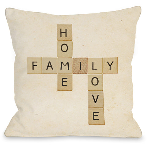 """Home Family Love"" Indoor Throw Pillow by OneBellaCasa, 16""x16"""
