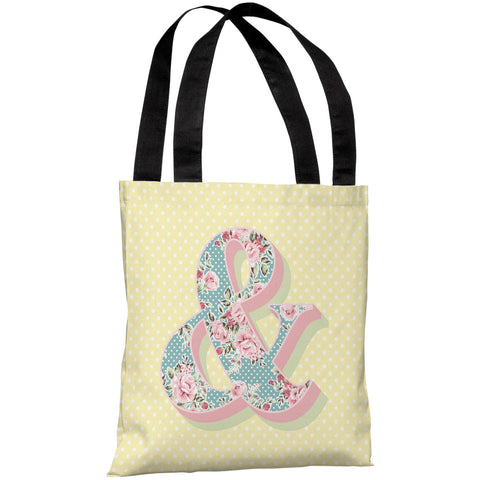 """Ampersand Floral"" 18""x18"" Tote Bag by OneBellaCasa"
